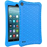 AVAWO Silicone Case for Amazon Fire 7 Tablet with Alexa (7th Generation, 2017 Release only) - Anti Slip Shockproof Light Weight Protective Cover, Blue