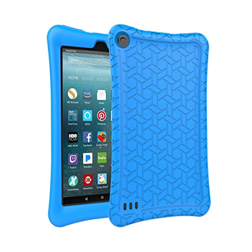 AVAWO Silicone Case for Amazon Fire 7 Tablet with Alexa (7th & 9th Generation, 2017 & 2019 Release - Anti Slip Shockproof Light Weight Protective Cover, Blue