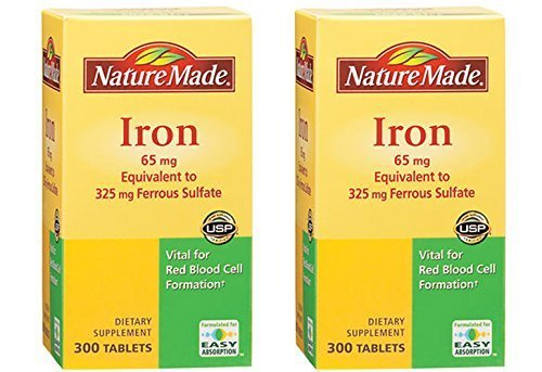 Nature Made Iron 65 mg, 300 Tablets 2 Pack by Nature ()