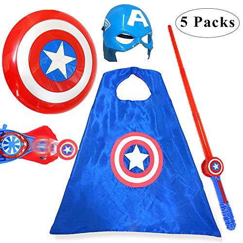 Fundisinn Captain America 5 Packs Cartoon Superhero Costume Light Sound Shield & Satin Cape & Light Mask & Adjustable Sword & Fire Gloves Dress Up Costumes Captain America Toys for Kids]()