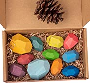 Gupgi Wooden Building Blocks Set Lightweight Natural Balancing Blocks Colored Wooden Stones Stacking Game Rock