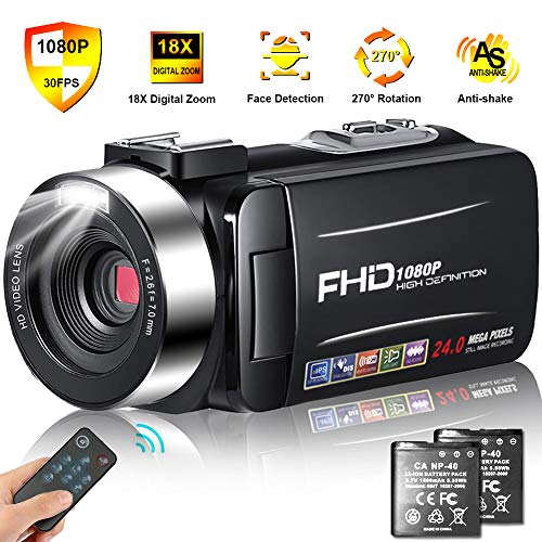 Camcorder Video Camera Full HD Camcorders 1080P 24.0MP Vlogging Camera with 2 Batteries and Pause Function with Remote Controller