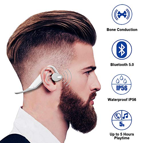 ALOVA Wireless Bone Conduction Headphones Bluetooth 5.0 Sports Open-Ear Headset IP56 Waterproof Earphones with Microphone Earbuds for Running