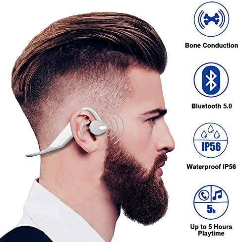 ALOVA Wireless Bone Conduction Headphones Bluetooth 5.0 Sports Open-Ear Headset IP56 Waterproof Earphones with Microphone Earbuds for Running