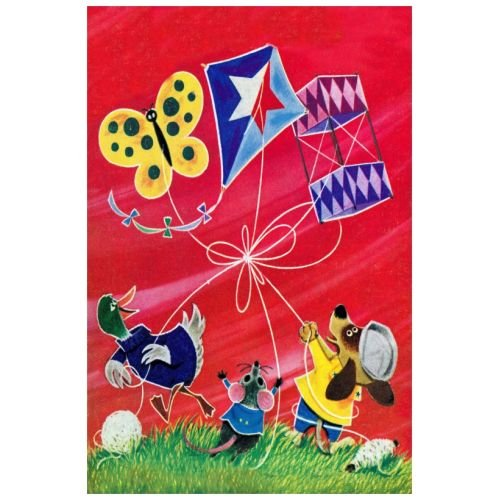 Marmont Hill Vintage-Kids 'Flying a Kite' canvas Wall Art, 24