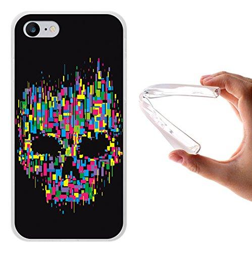 iPhone 8 Hülle, WoowCase Handyhülle Silikon für [ iPhone 8 ] Bunter Schädel Handytasche Handy Cover Case Schutzhülle Flexible TPU - Transparent