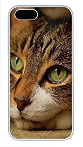 iPhone 5 5S Case Green Cats Eye PC Custom iPhone 5 5S Case Cover White