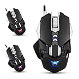 Pulison(TM)Combaterwing CW30 Adjustable 1200-1600-2400-3200DPI Wired Gaming Mouse Mice For PC Laptop Computer With 3-Color Breathing LED Light