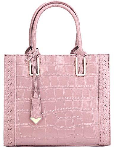 Menschwear Womens Genuine Leather Top Handle Satchel Bag Pink by Menschwear (Image #3)