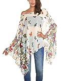 DJT Women's Floral Printed Chiffon Caftan Poncho Tunic Top One Size White