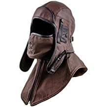 Sterkowski Genuine Leather Men's Aviator Trapper Cap with Mask and Collar