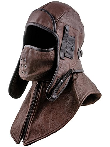 Plaid Boy Mask (Sterkowski Genuine Leather Aviator Trapper Cap with Mask and Collar US 7 3/8 Light Brown)