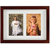 Lawrence Frames Walnut Wood Double 5 by 7 Matted Picture Frame