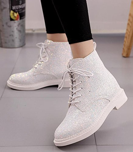 IDIFU Women's Glitter Sequins Low Chunky Heels Lace Up Martin Ankle Boots Short Booties