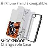iPhone 8   7 Slim Lightweight Case Cover Shockproof Shatterproof Scratch Resistant Hybrid Bumper & Cover   Precise Cutouts For Easy Access   3 Designs Pack - iPhone 7 & 8 (Black, Gray)