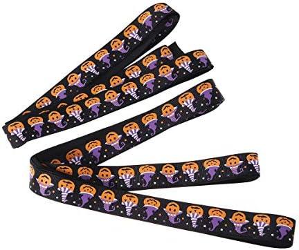 Healifty ハロウィーン雰囲気リボン DIYヘアボール ギフト 装飾 ラッピング 12ヤード 黒色 パンプキン柄