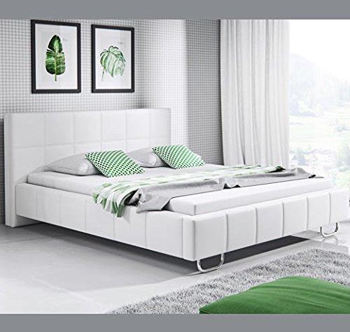 muebles bonitos Cama de Matrimonio Moderna Sofia con somier de láminas para colchón de 150x190cm Blanco diseño Italiano Elegante: Amazon.es: Hogar