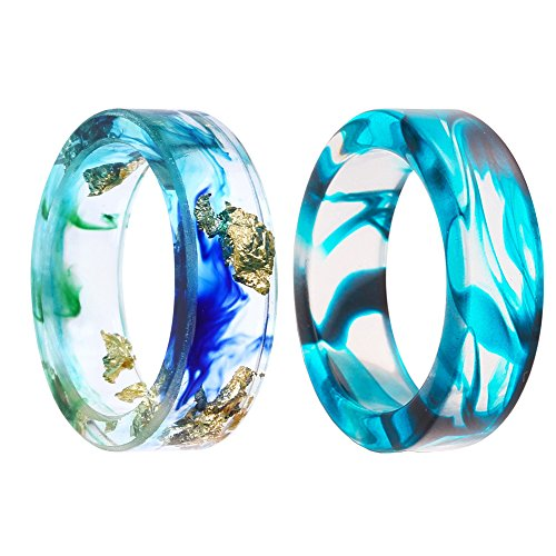 VEINTI+1 New Arrival Handmade Ocean Style Colorful Ink Transparent Resin/Plastic Women/Men's Charm Ring (2pcs(1pcs 19mm+1pcs US #9))