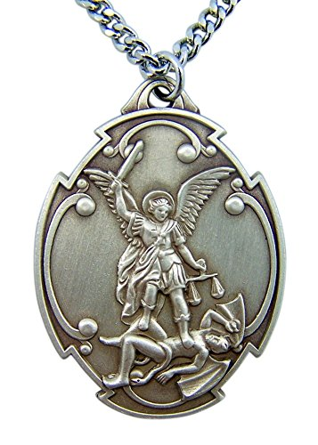 (Sterling Silver Saint Michael Who Is Like Unto God Medal Pendant, 1 1/2)