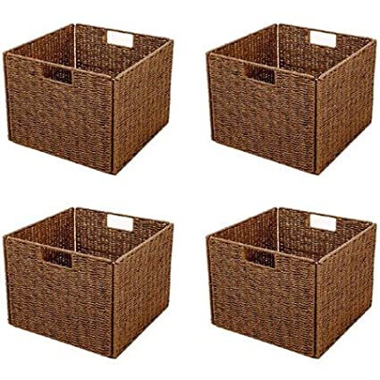 Bon Foldable Paper Rope Storage Basket With Iron Wire Frame Walnut Set Of 4