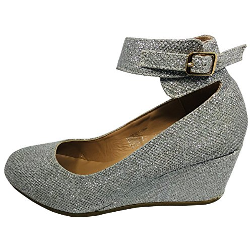 Picture of HapHop Women's Almond Toe Ankle Strap Faux Suede Wedge Pump Shoes, Silver Glitter, 8 M US