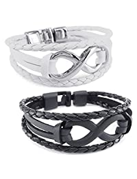 Konov Jewelry Leather Mens Womens Bracelet, 2pcs Infinity Bangle, Black White, with Gift Bag, C25258