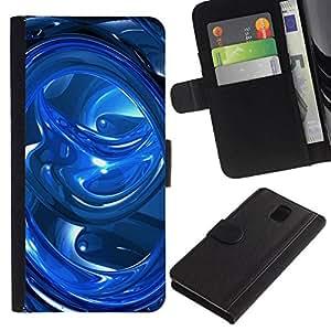 All Phone Most Case / Oferta Especial Cáscara Funda de cuero Monedero Cubierta de proteccion Caso / Wallet Case for Samsung Galaxy Note 3 III // Blue Abstract Swirls