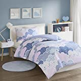 SCM Cloud Printed Duvet Cover Set Single Size - Playful Design Cute and Fluffy Clouds - 2 Pcs Ultra Soft Hypoallergenic 100% Cotton Children's Bedding (Blue, Single)