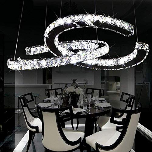 XQY Decorative Chandelier-Modern Crystal Chandeliers Ceiling Light Creative Double C Shape Stainless Steel Hanging Light Hanging Lamp Cafe Bar Club Living Room Restaurant Clothing Store Pendant Light