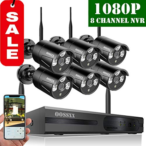 - 【2019 Update】 OOSSXX HD 1080P 8-Channel Wireless Security Camera System,6 pcs 1080P 2.0 Megapixel Wireless Weatherproof Bullet IP Cameras,Plug Play,70FT Night Vision,P2P,App, No Hard Drive