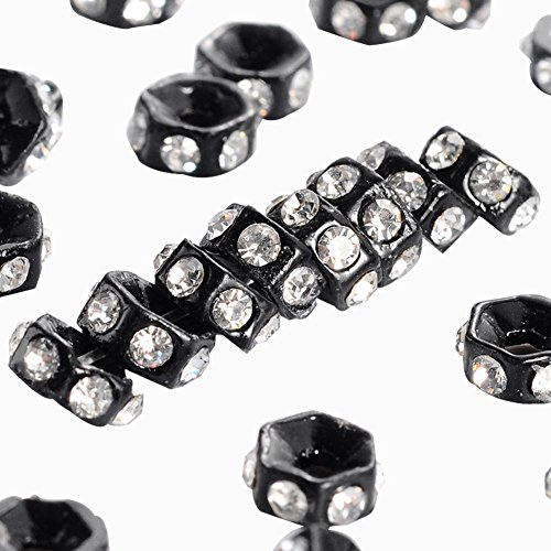 Nickel Round Beads (NBEADS 100 pcs 6mm Middle East Clear Alloy Rhinestone Spacer Round Rondelle Beads Nickel Free, 2.2mm Thick, Hole: 1mm, Gunmetal)