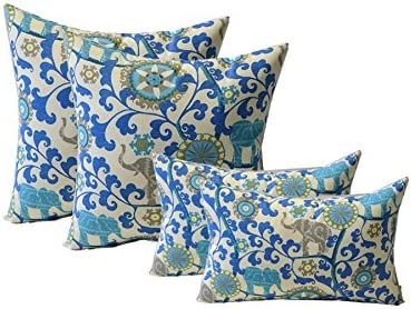 Set of 4 Indoor Outdoor Pillows – 20 Square Throw Pillows Rectangle Lumbar Decorative Throw Pillows – Sapphire Blue, Green, Turquoise, Gray Bohemian Elephant Menagerie Sapphire Fabric