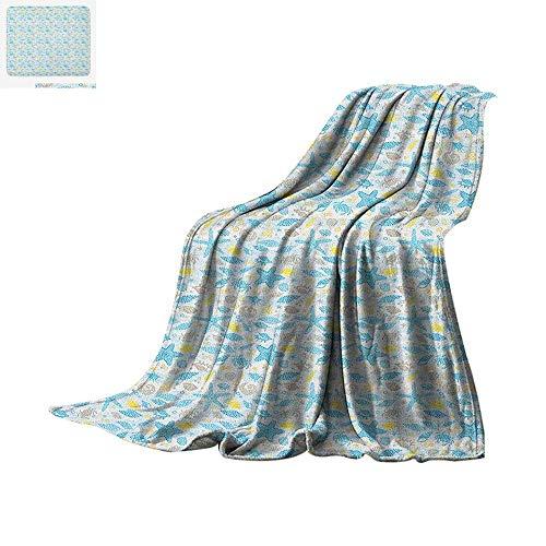 iber All Season Blanket Maritime Themed Dotted Seashells Seastar and Swirls Aquatic Animals Pattern Summer Quilt Comforter 80