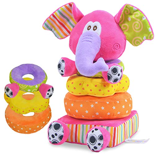 Kidsbele Plush Elephant Stacking Rings Baby Toys Educational Toddler Soft Safe Toy Rattles 0+ Months Infant Hand-Eye Coordination Skills