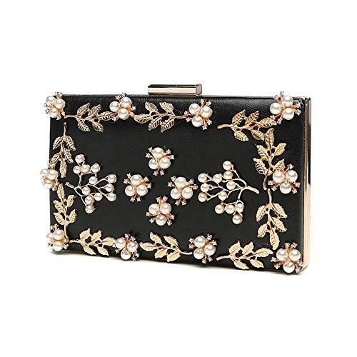 Handbag Pearl, Bag Ladies Banquet Korean Version Fashion Evening Bag Ladies Diamond Dress (color: Gold) Black