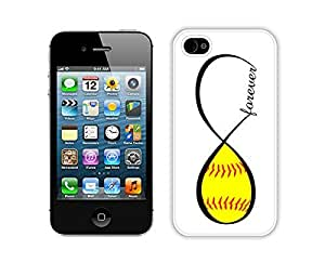 Graceful Apple Iphone 4s Case Durable Soft Silicone TPU Softball Forever Softball Infinity Forever White Mobile Phone Case Cover for Iphone 4