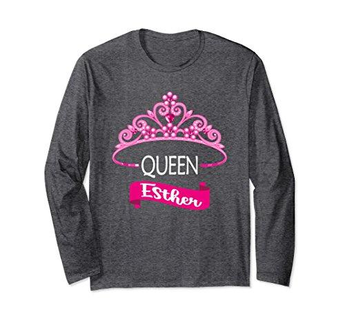 Unisex Queen Esther Shirt Jewish Purim Costume Long Sleeve Funny Large Dark (Queen Esther Costume Purim)