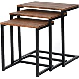 Lillyarn 3pc Stacking Nesting Coffee Table Set of 3 End Side Tables Set Living room Sofa Snack Table Brown