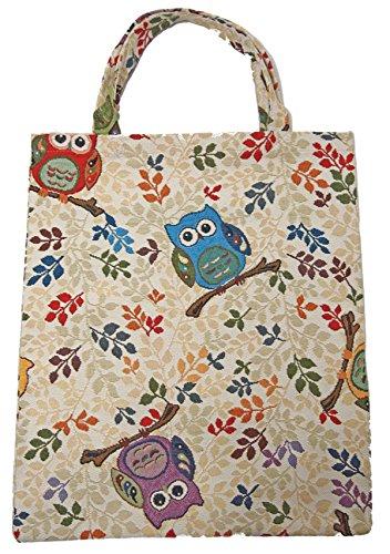 Einkaufstasche Beutel Stofftasche Shopper Bag Tasche Bistro Gobelin Royaltex Signare Eulen Fa. Bowatex