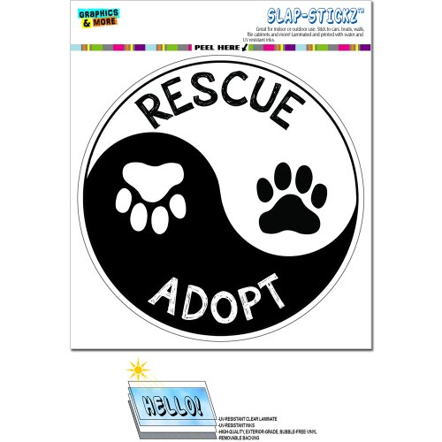 - Rescue Adopt Yin Yang - Paw Prints Animals Dogs Cats Circle SLAP-STICKZ(TM) Automotive Car Window Locker Bumper Sticker