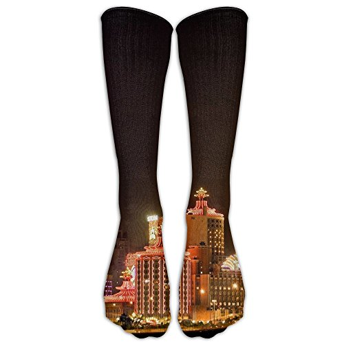 Macau Travel City Nightscape Unisex Compression Socks Sports 3D Printed Stocking Running&Fitness Thich-high Long Length Socks by BRECKSUCH
