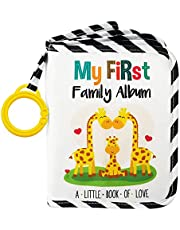 Urban Kiddy Baby's My First Family Album | Soft Photo Cloth Book Gift Set for Newborn Toddler & Kids (Giraffe)