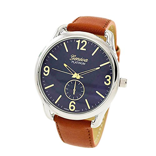 - Rosemarie Collections Men's or Women's Stitched Vegan Leather Oversized Watch (Brown, Blue and Silver)