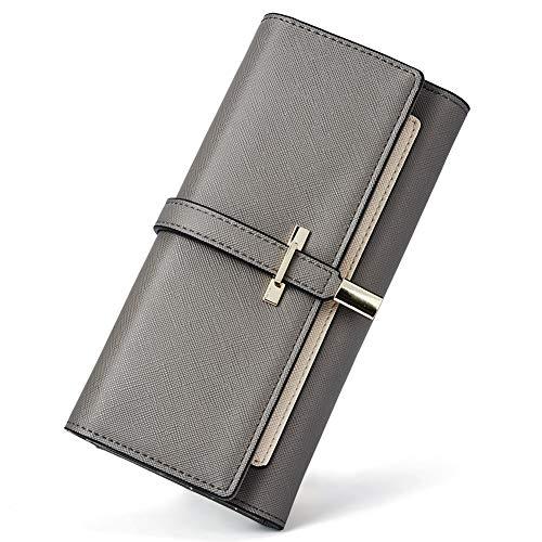 RFID Blocking Leather Wallet for Women Slim Clutch Purse Long Designer Trifold Ladies Credit Card Holder Organizer Gray