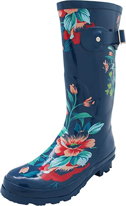 NORTY - Womens Hurricane Wellie Printed Floral Mid-Calf Rain Boot, Blue 40712-8B(M) US best women's rainboots