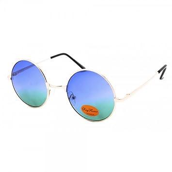 Sonnenbrille Unisex Rund Hippie Brille John Lennon getönt 400UV langer Steg orange JpXnC