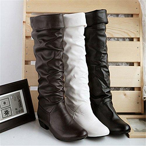 High Heels High Riding Winter Shoes SoonerQuicker Boots White Toddler Boots Knee Boots Women GirlWomen'S Knee High Junior7 Tube Flat nnxT7A