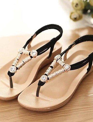 ShangYi Sandaletten für Damen Damenschuhe - Sandalen - Kleid - Kunstleder - Flacher Absatz - Komfort - Schwarz / Rot / Beige Black