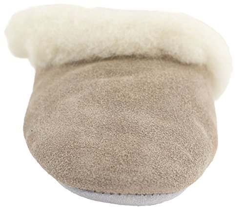 with Lambswool Beige Ladies Slippers Lambland and Beige Suede Slip Suede Sole On qSZ0t