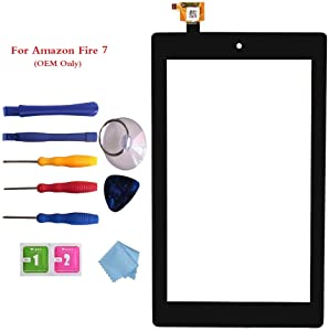 "New Digitizer Screen Replacement for Amazon Fire 7th Gen SR043KL 7"" Black (for 7th Generation 2017 Release)"